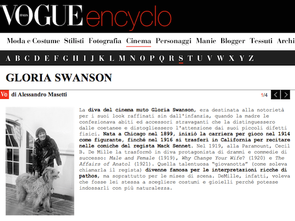 Vogue Encyclo - Gloria Swanson