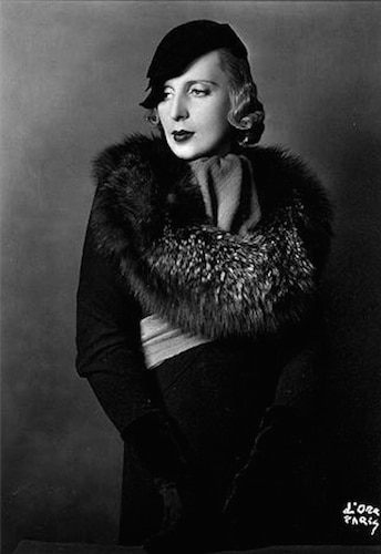 Tamara de Lempicka wearing Lucien Lelong coat and Rose Descat hat - Madame D'Ora - 1933