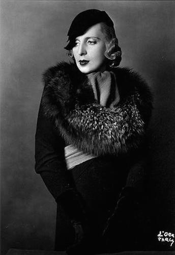 Tamara de Lempicka wearing Lucien Lelong coat and Rose Descat hat - Madame D'Ora - 1933