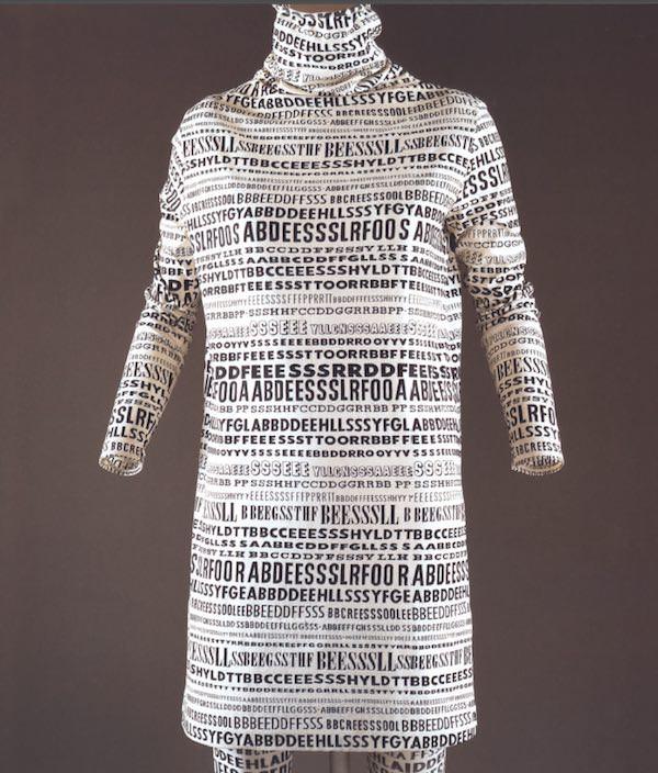 Lettering in Fashion - Rudi Gernreich, Alphabet minidress and stockings FW1968