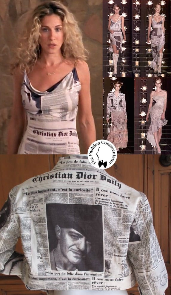 Lettering in fashion - Carrie Bradshaw wears Christian Dior FW 2000 Daily newspaper dress by John Galliano