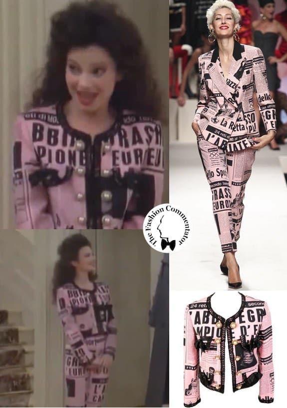 Lettering in fashion - The Nanny Fran Drescher wearing a Moschino ensemble