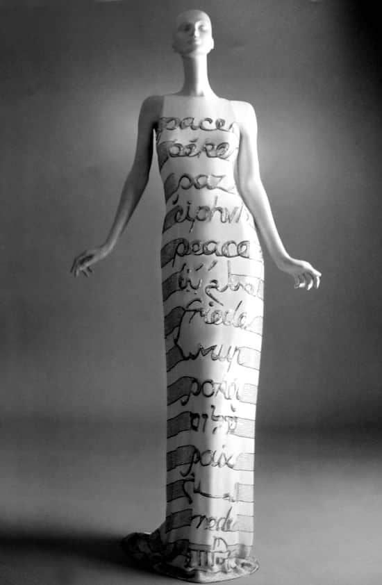 Lettering in fashion - Valentino Peace dress - couture summer 1990