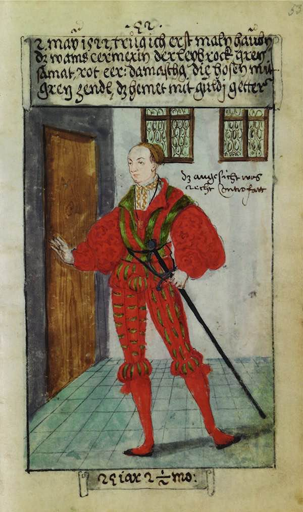 Matthäus Schwarz Aged 24 years, 2 and 1/2 months - On 2nd May 1522, I wore a thread caul for the first time. The jerkin was scarlet red, the doublet green velvet (and) scarlet red damask; the hose, green taffeta; the shirt with golden bands - © The Herzog Anton Ulrich Museum, Braunschweig