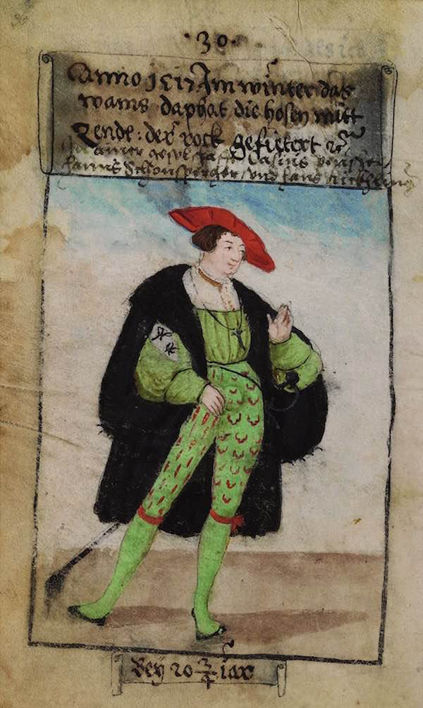Matthäus Schwarz Aged 20 and 3/4 - In winter 1517, the doublet a half silk, the hose with taffeta, the gown lined. In society with Casius Peuschel, Hanns Schonsperger and Hans Kickhlinger - © The Herzog Anton Ulrich Museum, Braunschweig