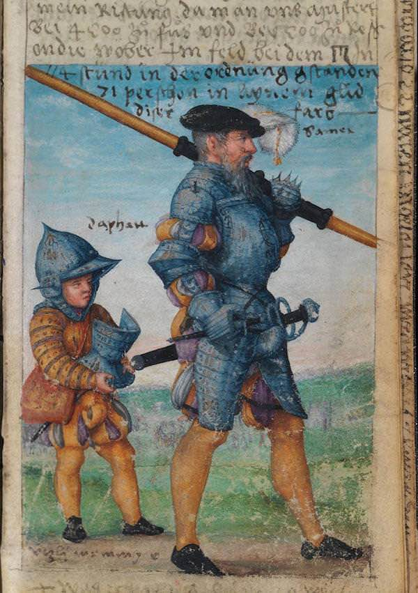 Matthäus Schwarz Aged 48 years, 29 weeks - On 12 August 1545, this was my armor when we were inspected, around 4,500 [men]… on foot and 500 on horses, who stood in the field near the gallows for 1/4 hours, 71 people in one rank in this colour - © The Herzog Anton Ulrich Museum, Braunschweig