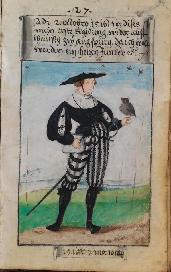 Matthäus Schwarz - Aged 19 years, 7 months, 10 days - On October 2nd, 1516, this was my first outfit back in German style in Augsburg, when I wanted to become a huntsman. © The Herzog Anton Ulrich Museum, Braunschweig