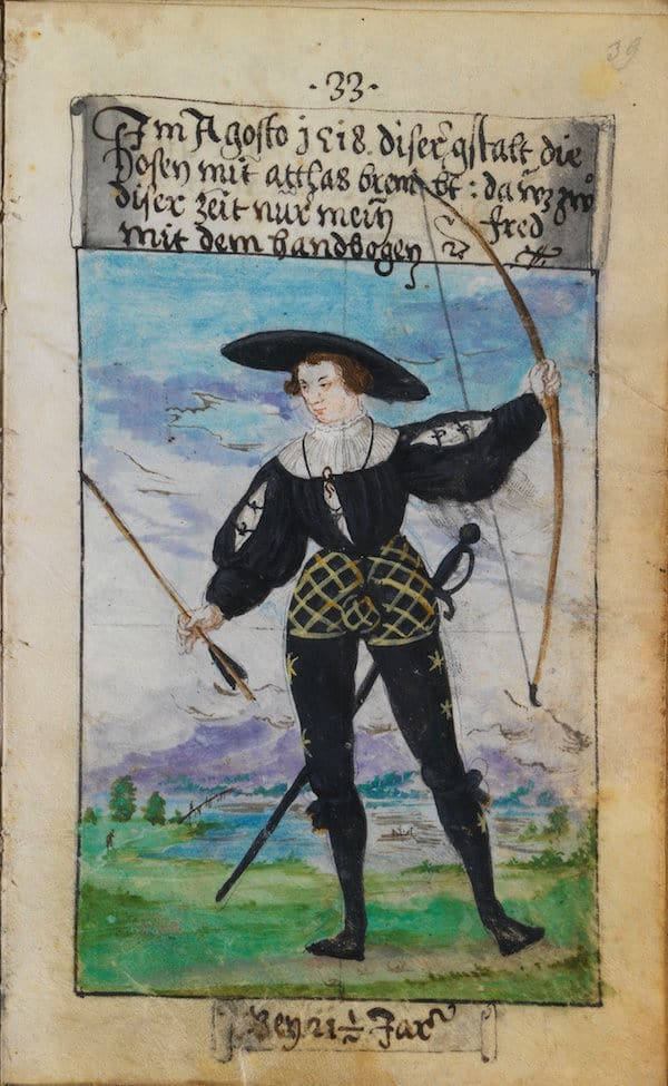 Matthäus Schwarz Aged 21 and 1:2 - In August 1518, in this manner, the hose trimmed with silk satin.At this time I greatly enjoyed archery. - © The Herzog Anton Ulrich Museum, Braunschweig