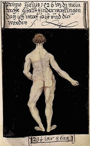 Matthäus Schwarz - Aged 29 1:3, 8 days - On 1st July 1526 that-was-my-real-figure-from-behind-because-I-had-become-fat-and-large - Bibliothèque Nationale, Paris copia