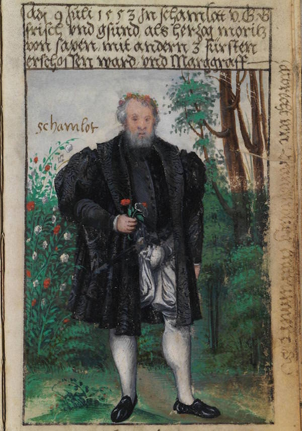 Matthäus Schwarz Aged 56 years - On 9 July, 1553, in camlet, fresh and healthy with God's grace, when Duke Moritz of Saxony was shot with three other princes, and Margrave Albrecht of Brandenburg ran away- © The Herzog Anton Ulrich Museum, Braunschweig
