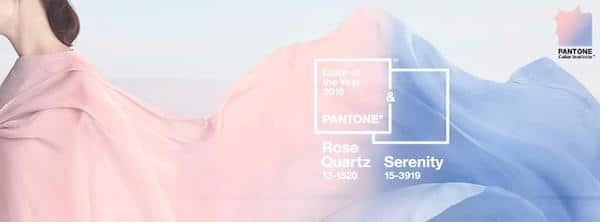 Rose quartz PANTONE 13-1520 and serenity PANTONE 15-3919