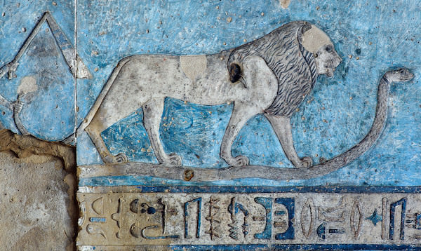 Leo on astronomical ceiling at Hathor Temple in Dendera